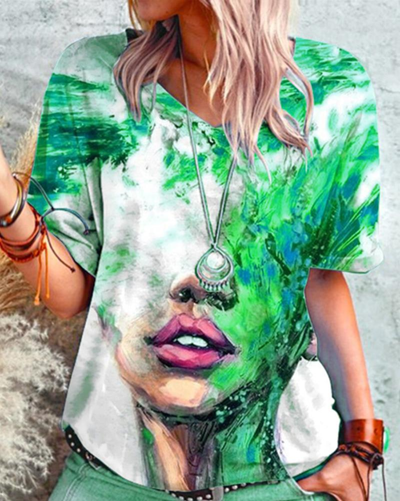 Figure Patterns Print Short Sleeve Loose T-shirts, Green