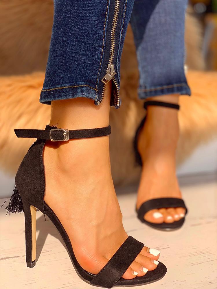 Leopard Tassel Detail Thin Heeled Sandals