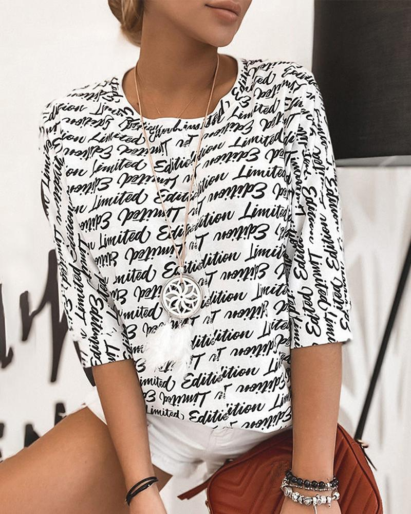 Letter Print Half Sleeve Casual T-shirt thumbnail