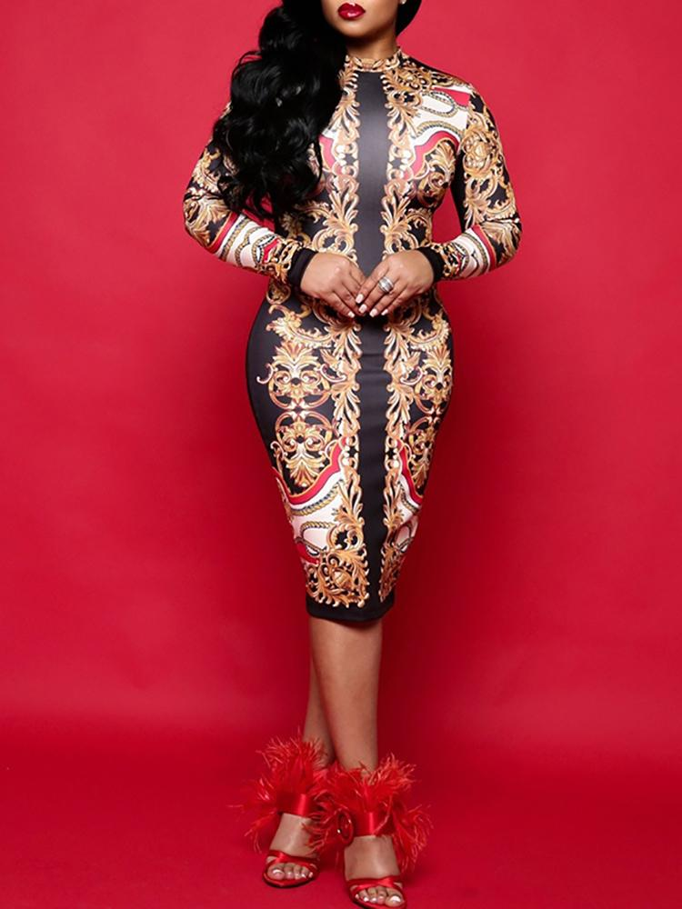 boutiquefeel / Tribal Print Long Sleeve Midi Dress