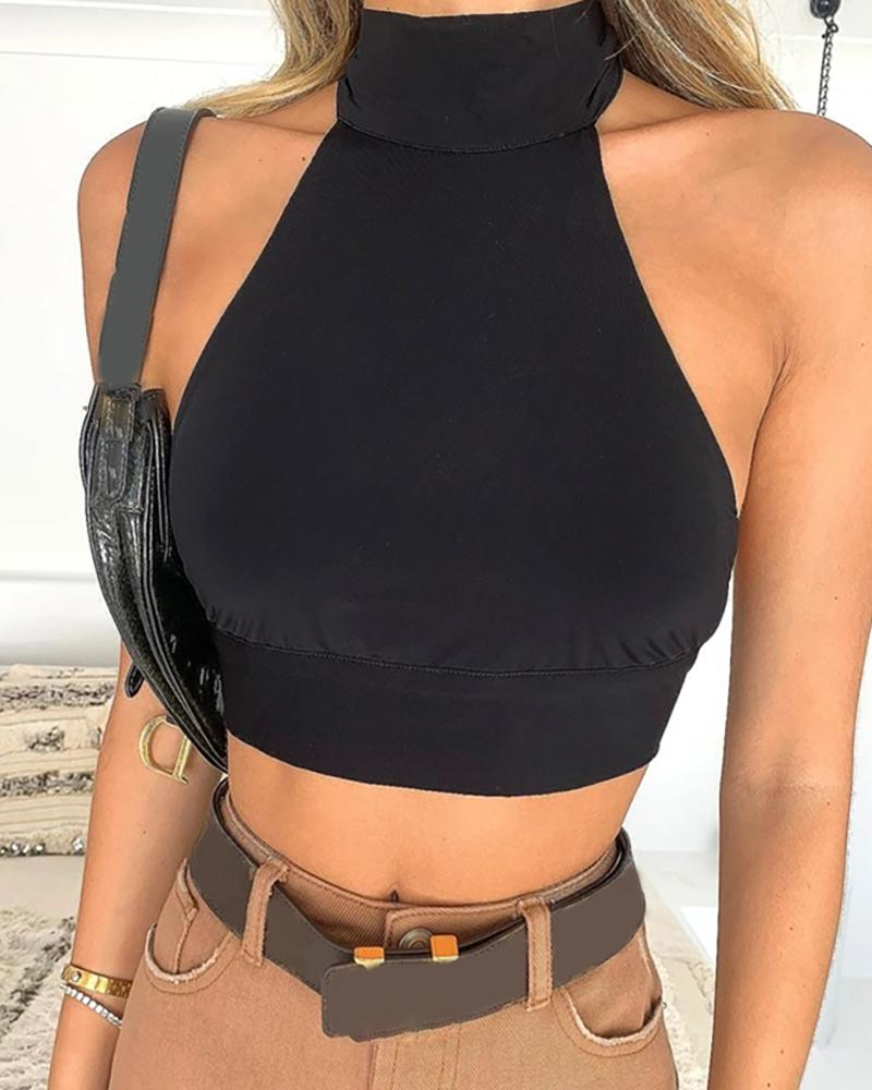 Sleeveless Halter Knotted Backless Crop Top
