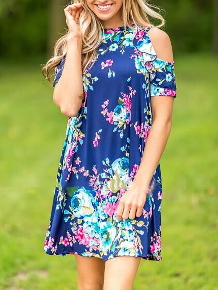 480aba25087 Vintage Floral Print Frills Cold Shoulder Casual Mini Dress Online. Discover  hottest trend fashion at chicme.com