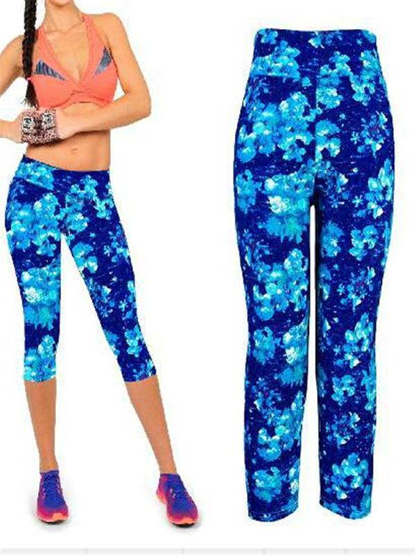 Capri Leggings High Waisted Floral Printing Yoga Pants Lady's Finess Workout Casual Pants Gym Wear 2 Sizes thumbnail