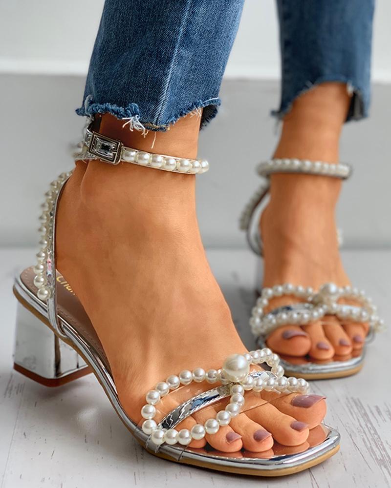 Beaded Clear Perspex Chunky Heels thumbnail