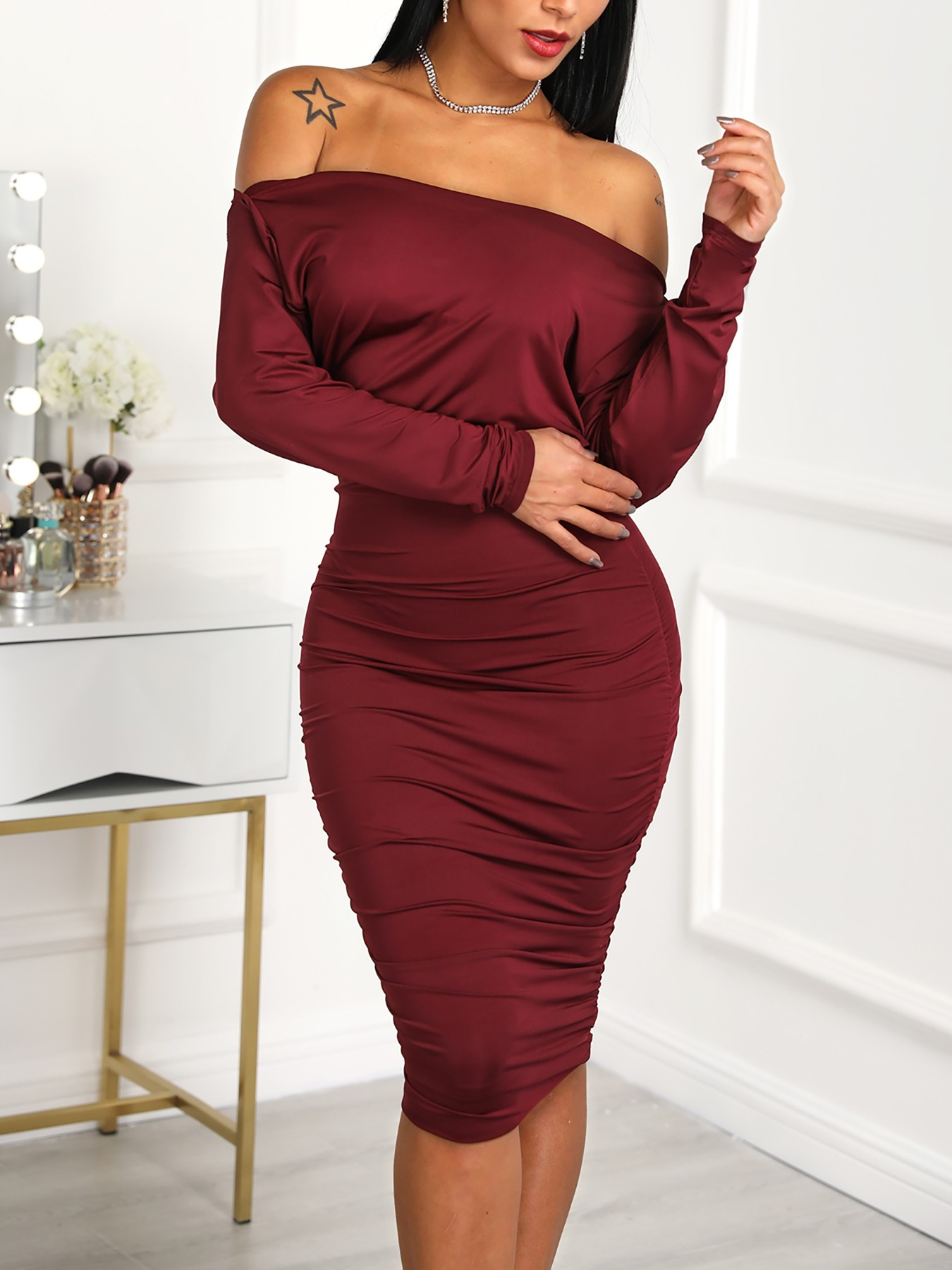 boutiquefeel / One Shoulder Ruched Bodycon Dress