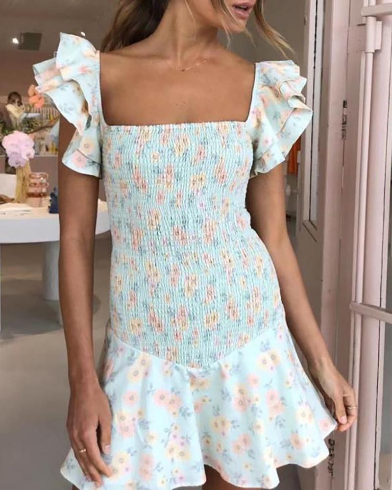 Floral Print Ruffles Flutter Sleeve Shirring Dress thumbnail