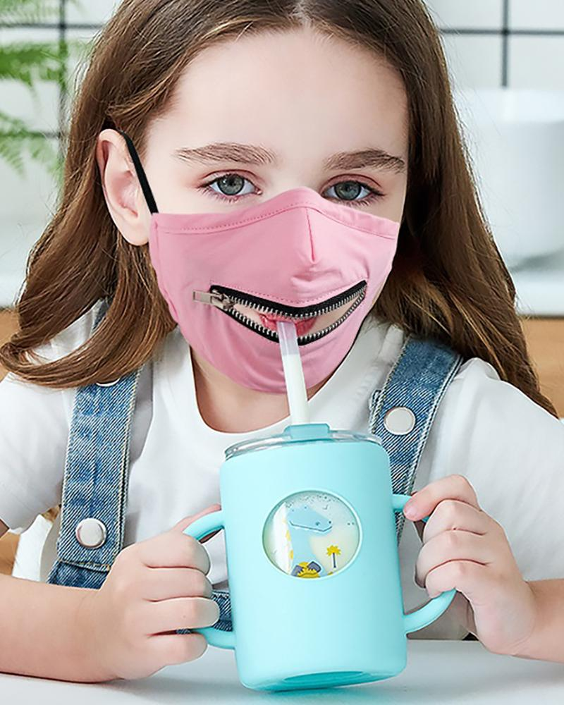 Zipper Design Solid Breathable Mouth Mask For Kids thumbnail