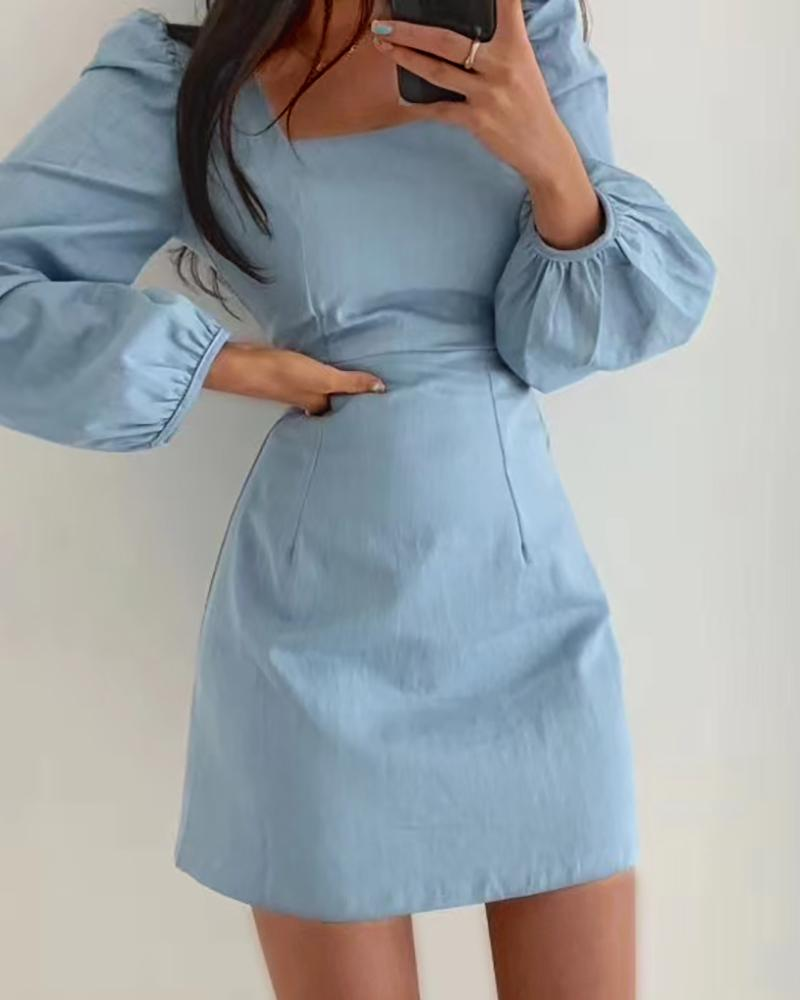 Puff Sleeve Long Sleeve Bodycon Dress thumbnail