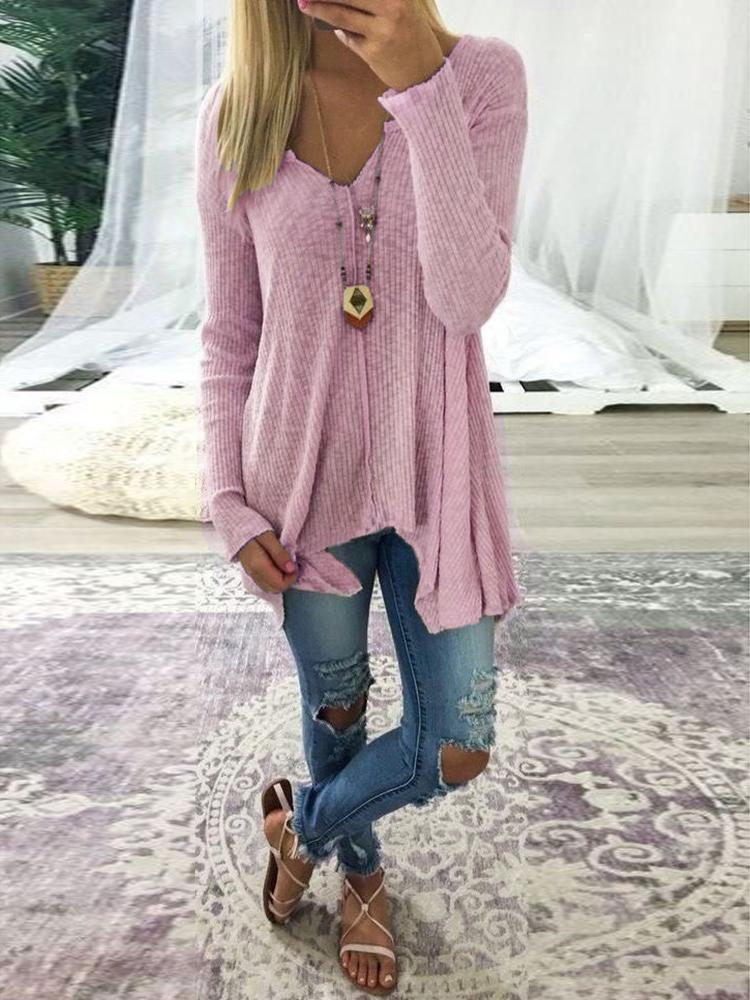 2a9a4cf31543 Plus Size Irregular V Neck Rib-knit Sweater Online. Discover hottest ...
