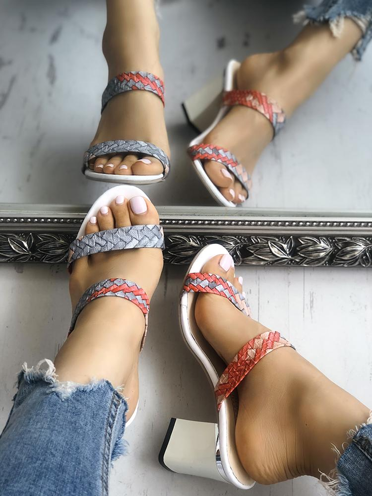 Colorful Braided Chunky Heeled Sandals