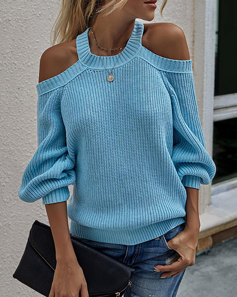Cold Shoulder Long Sleeve Knit Sweater thumbnail