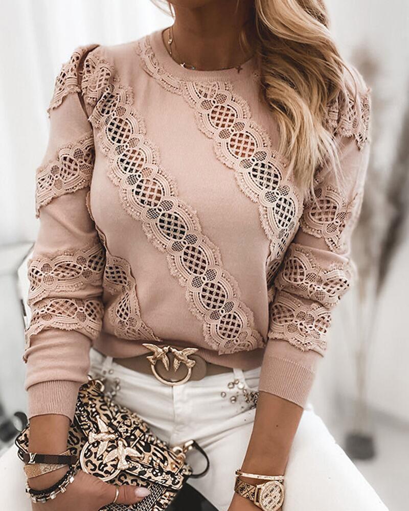 Lace Contrast Long Sleeve Sweatshirt thumbnail