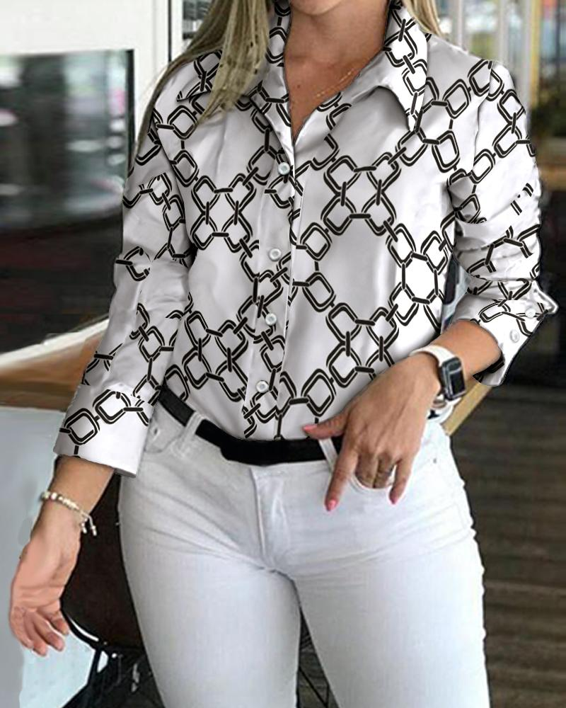 Chain Print Buttoned Up Long Sleeve Shirt