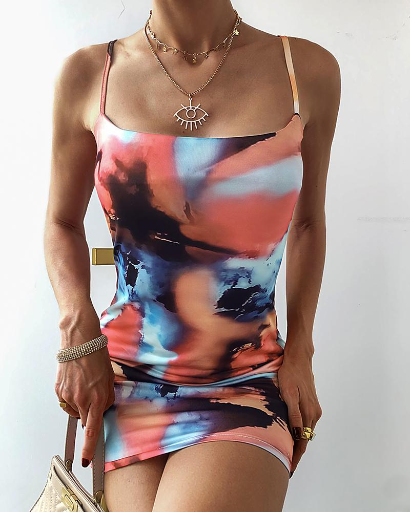 Tie Dye Spaghetti Strap Mini Dress thumbnail