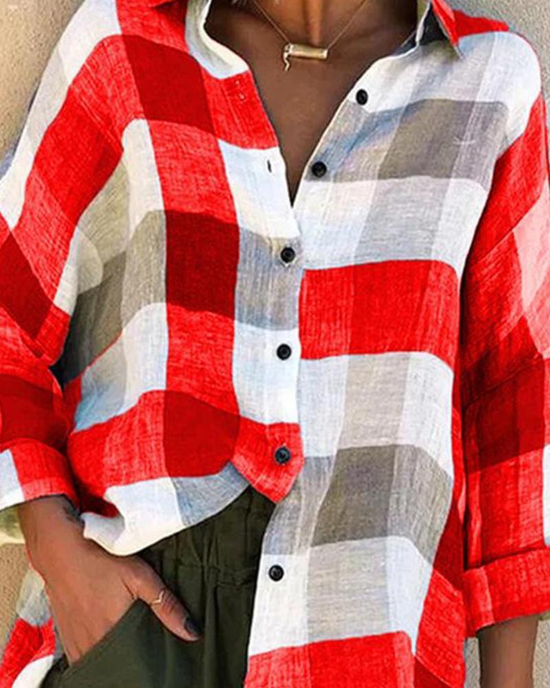 Colorblock Grid Long Sleeve Shirt thumbnail