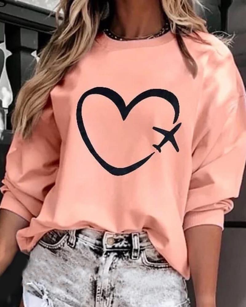 Heart Print Casual Sweatshirt thumbnail