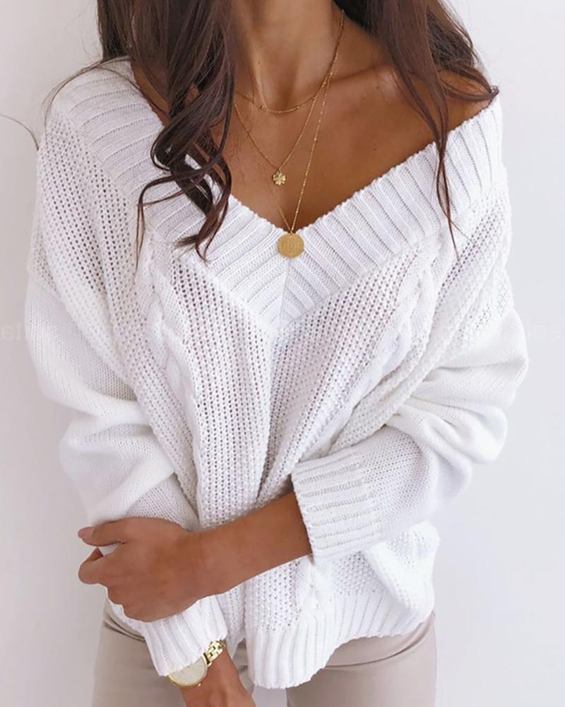 Braided Knit Solid Casual Sweater thumbnail