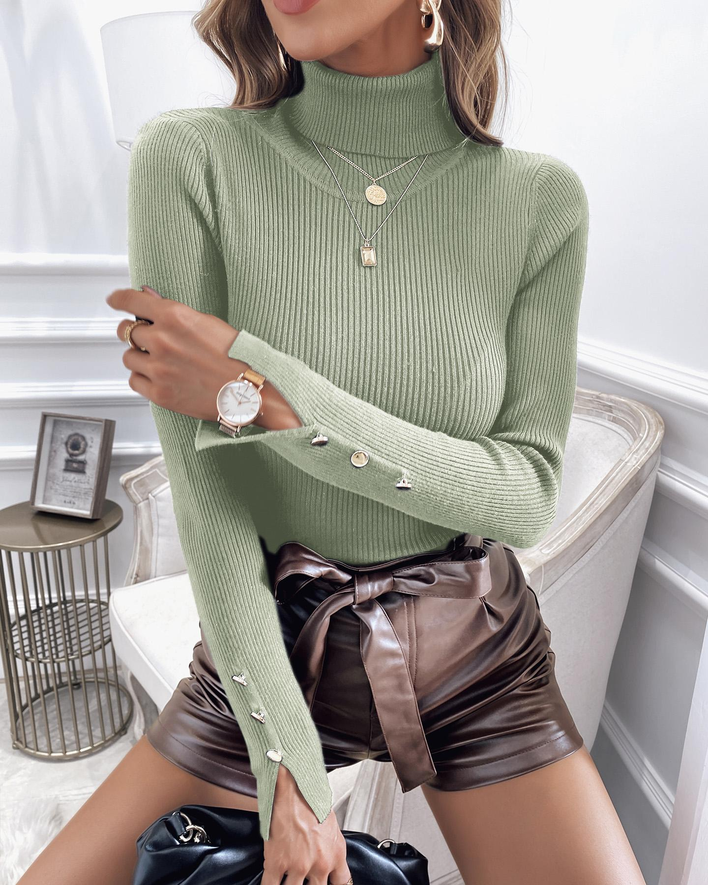 High Neck Buttoned Plain Casual Sweater