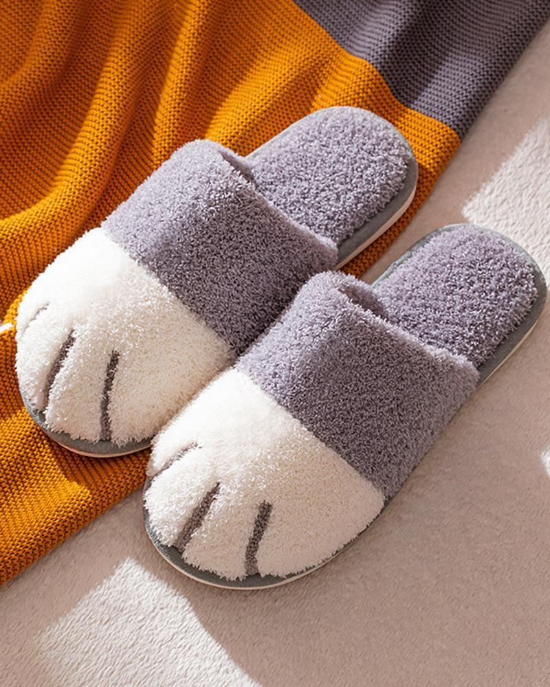 Men Cat Paw Slippers, Gray
