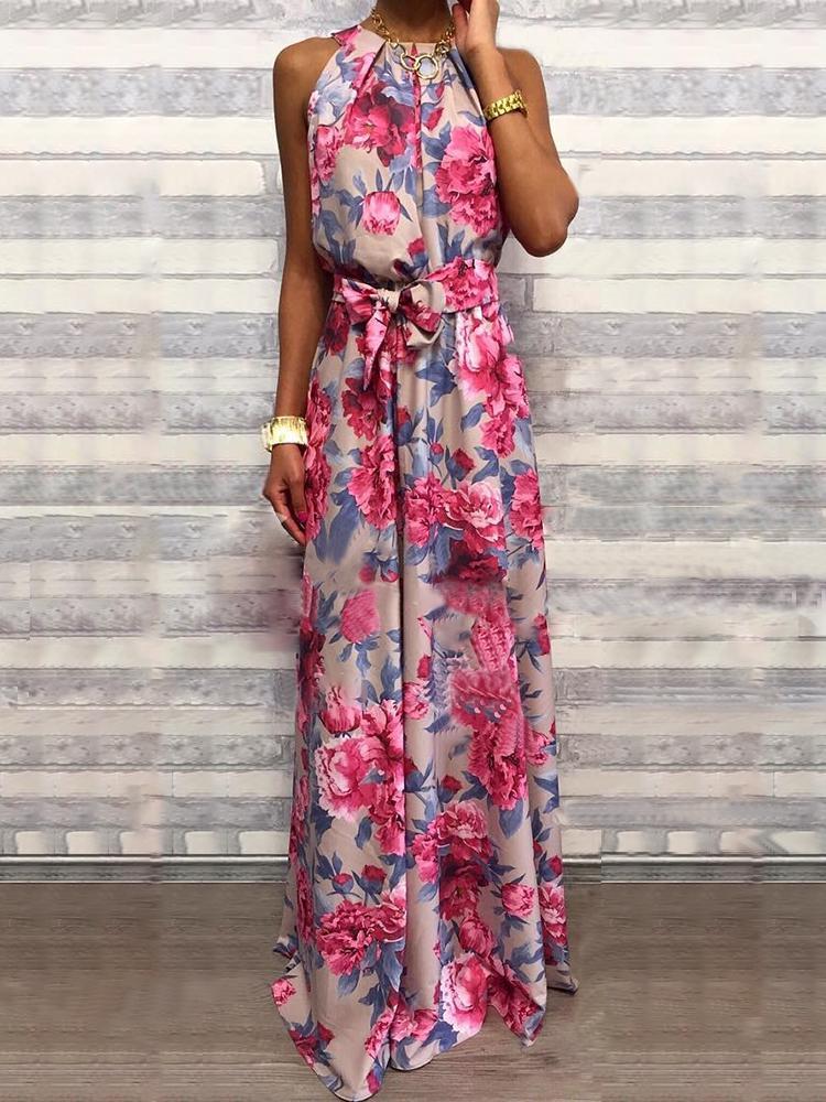 05f11d6e119 Floral Print Sleeveless Belted Maxi Dress