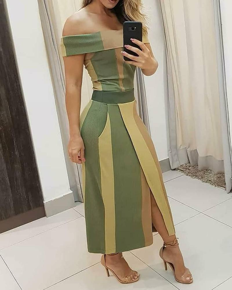 Colorblock Off Shoulder High Slit Maxi Dress, boutiquefeel, green  - buy with discount
