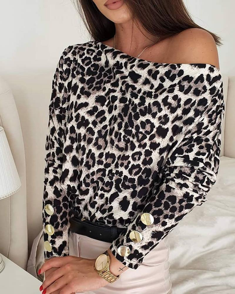 Cheetah Print Button Design Long Sleeve Top thumbnail