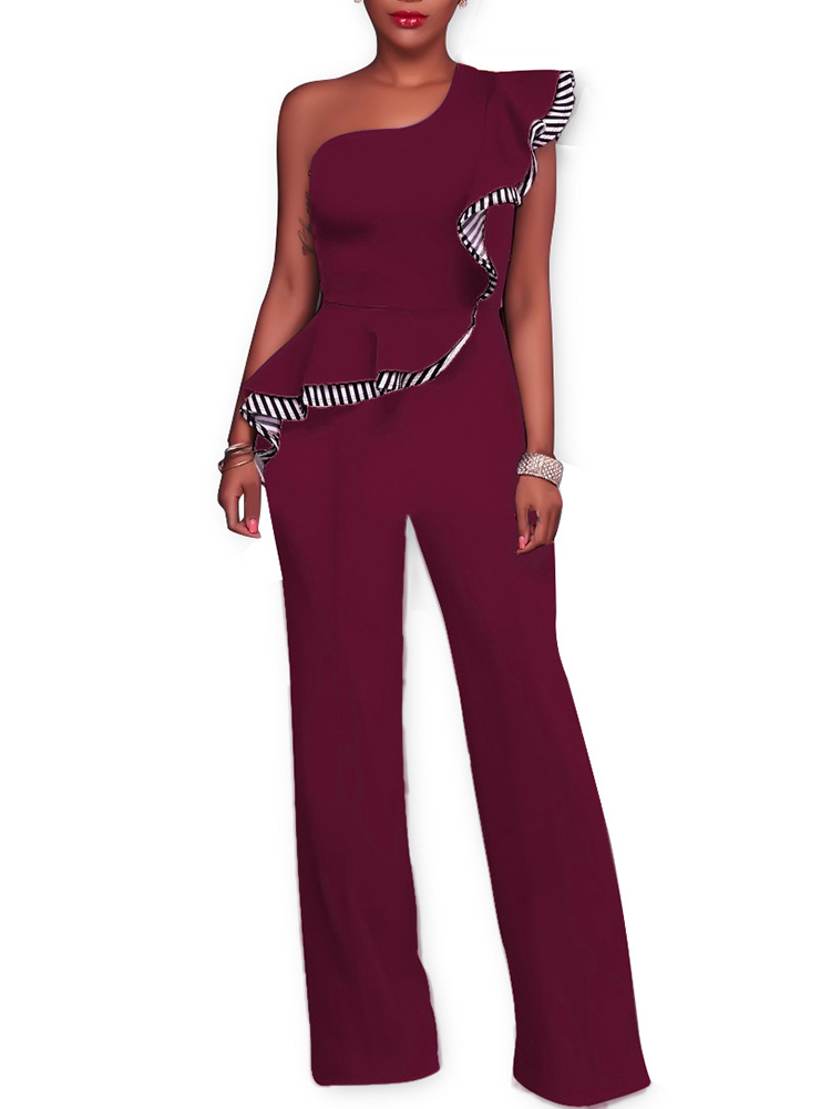 1aae97c6f22 Stylish Ruffled Skew Neck Striped Wide Leg Jumpsuit Online. Discover ...