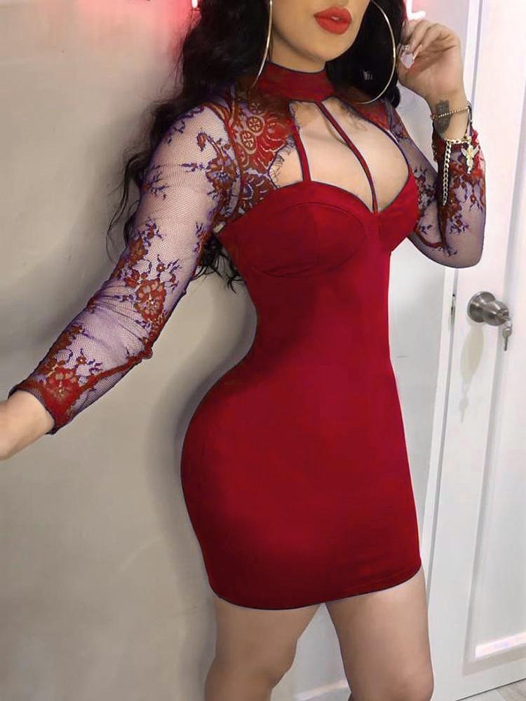boutiquefeel / Eyelash Lace Yoke Cage Neck Bodycon Dress