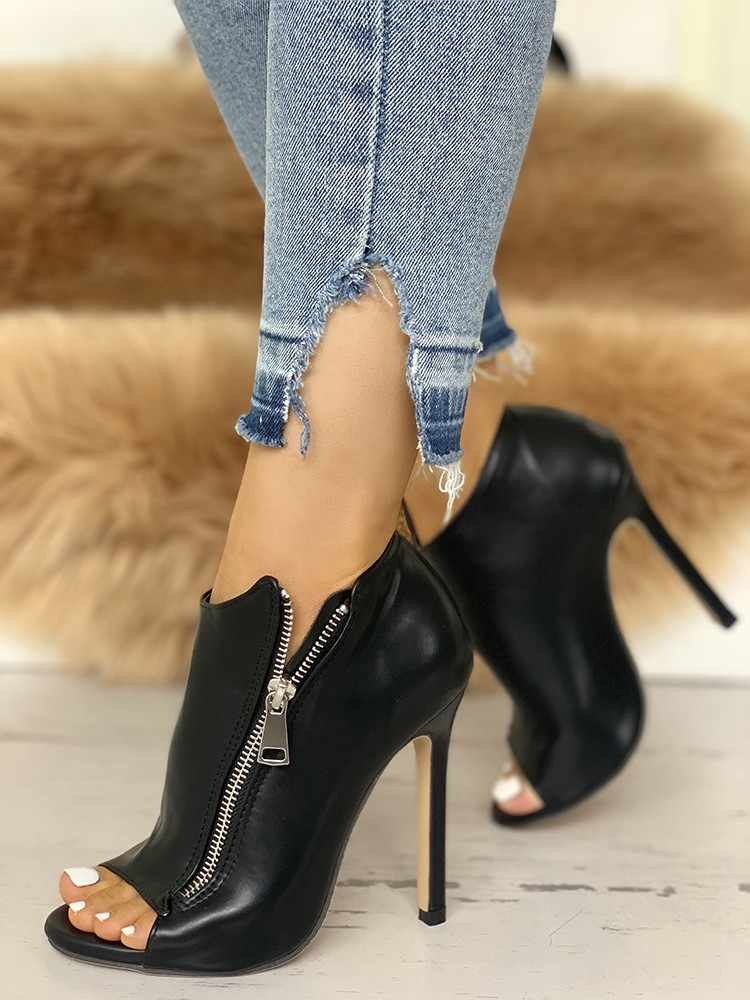 boutiquefeel / Zip Design Peep Toe Thin Heeled Boots