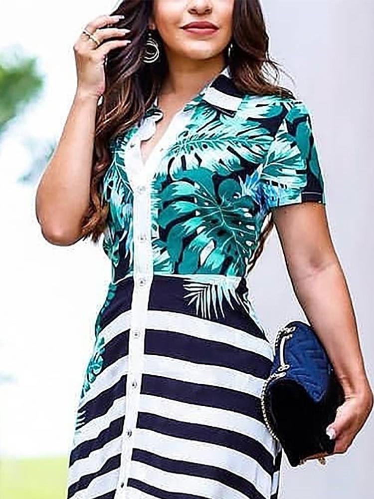 boutiquefeel / Leaf & Stripes Print Button Through Maxi Dress