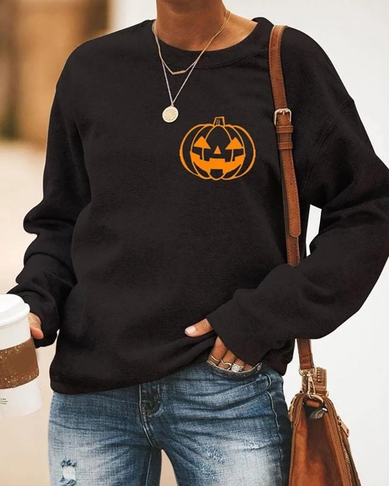 Halloween Pumpkin Head Print Casual Sweatshirt thumbnail