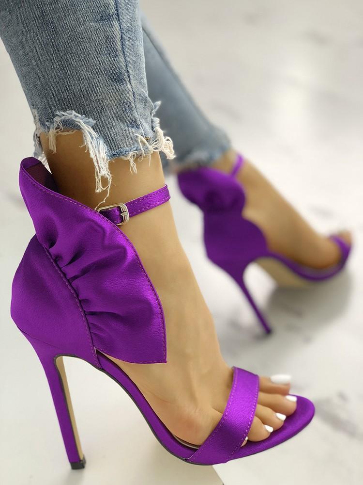 boutiquefeel / Velvet Ruffles Embellished Thin Heeled Sandals