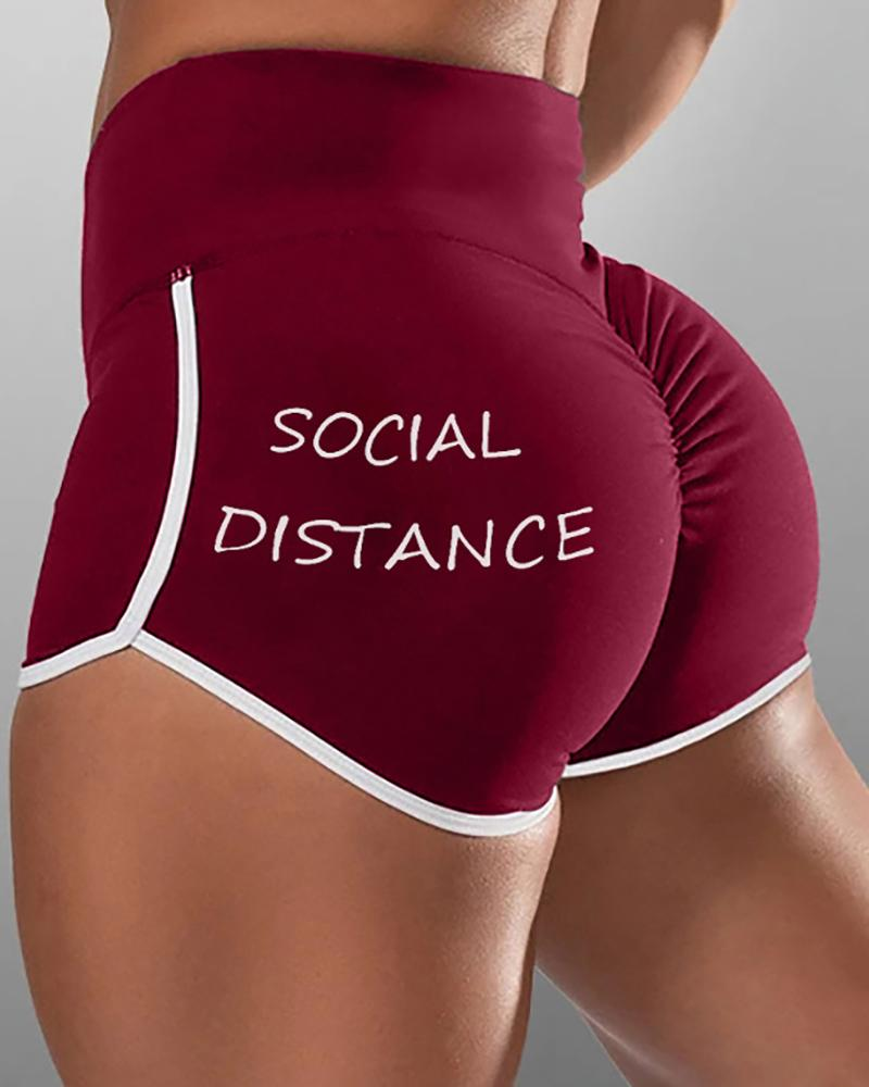Letter Print High Waist Active Shorts, boutiquefeel, Wine red  - buy with discount