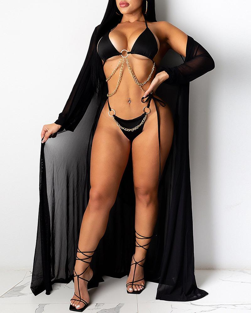 Chain Strap O-Ring Design Bikini Sets With Cover Up thumbnail