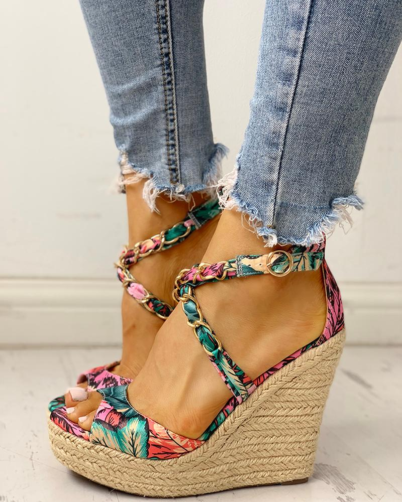 Floral Chain Detail Platform Wedge Sandals
