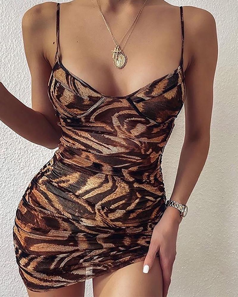 Spaghetti Strap Animal Print Ruched Backless Bodycon Dress