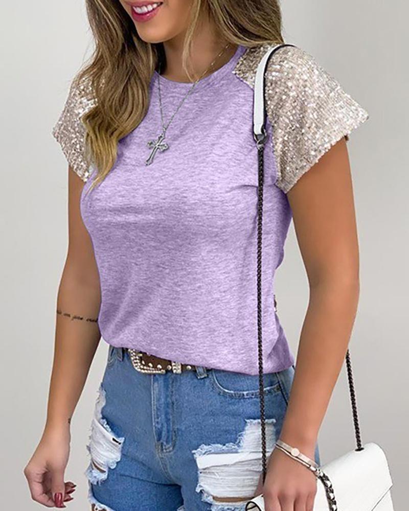 Sequins Short Sleeve Casual T-shirt thumbnail