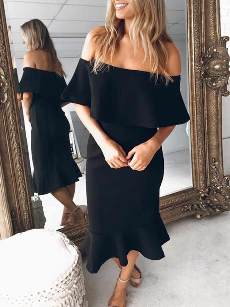 Ivrose coupon: Ruffle Fold Over Off Shoulder Fishtail Bodycon Dress