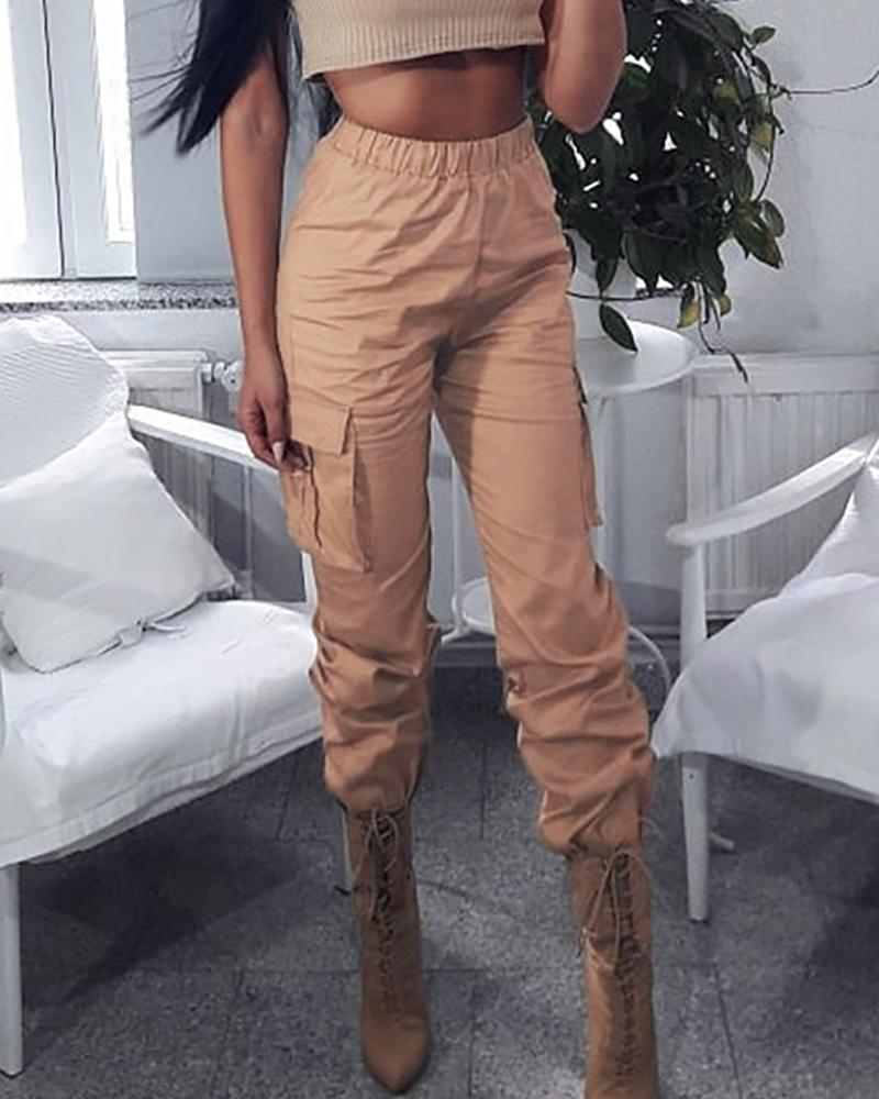 Pocket Design Solid High Waist Cargo Pants thumbnail
