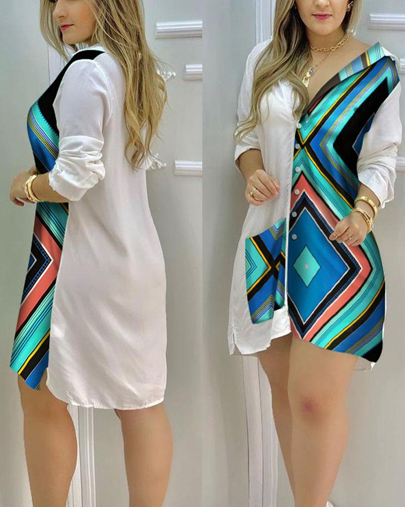 ivrose / Patterns Print Patchwork Long Sleeve Button-up Mini Women Shirt Dress