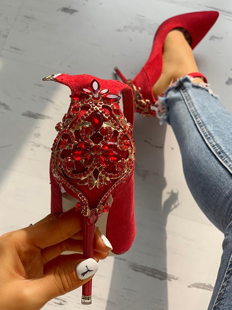 boutiquefeel / Gem-Studded Pointed Toe Ankle Strap Heels