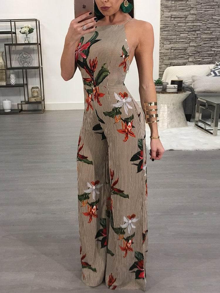boutiquefeel / Floral Printed Halter Open Back Casaul Wide Leg Jumpsuit