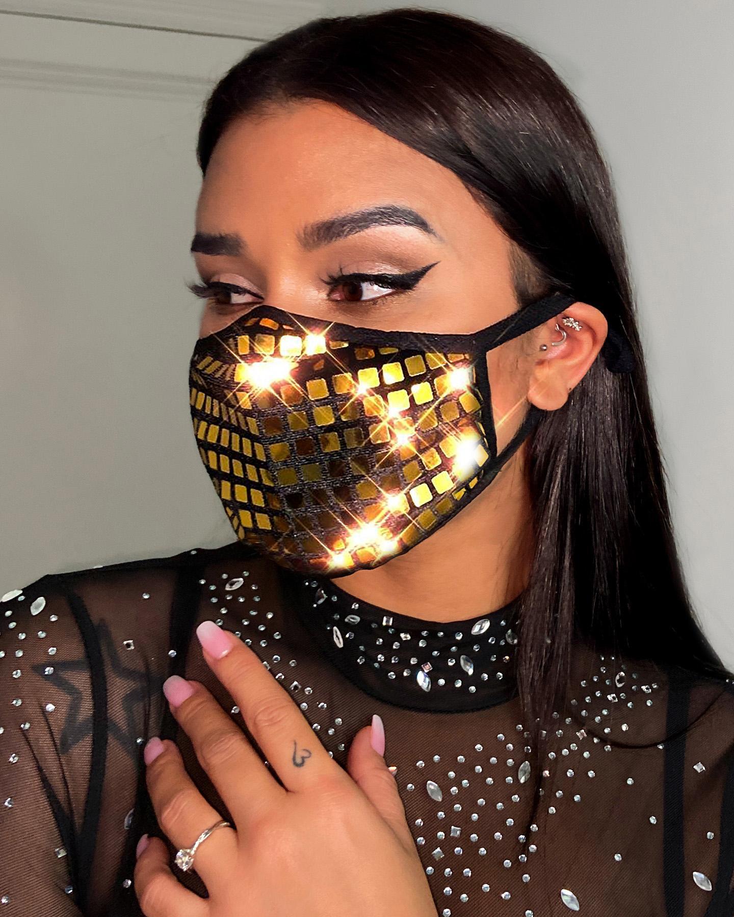 Glitter Grid Pattern Breathable Ear Loop Mouth Mask Reusable thumbnail