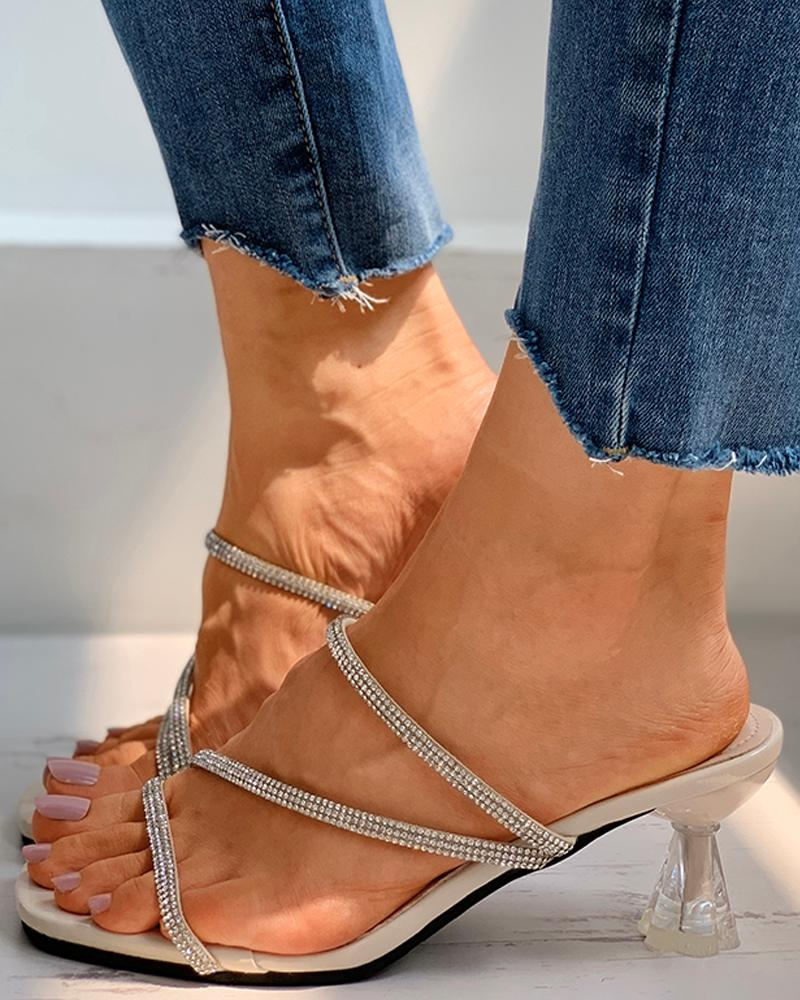 Open Toe Studded Casual Pyramid Heels thumbnail