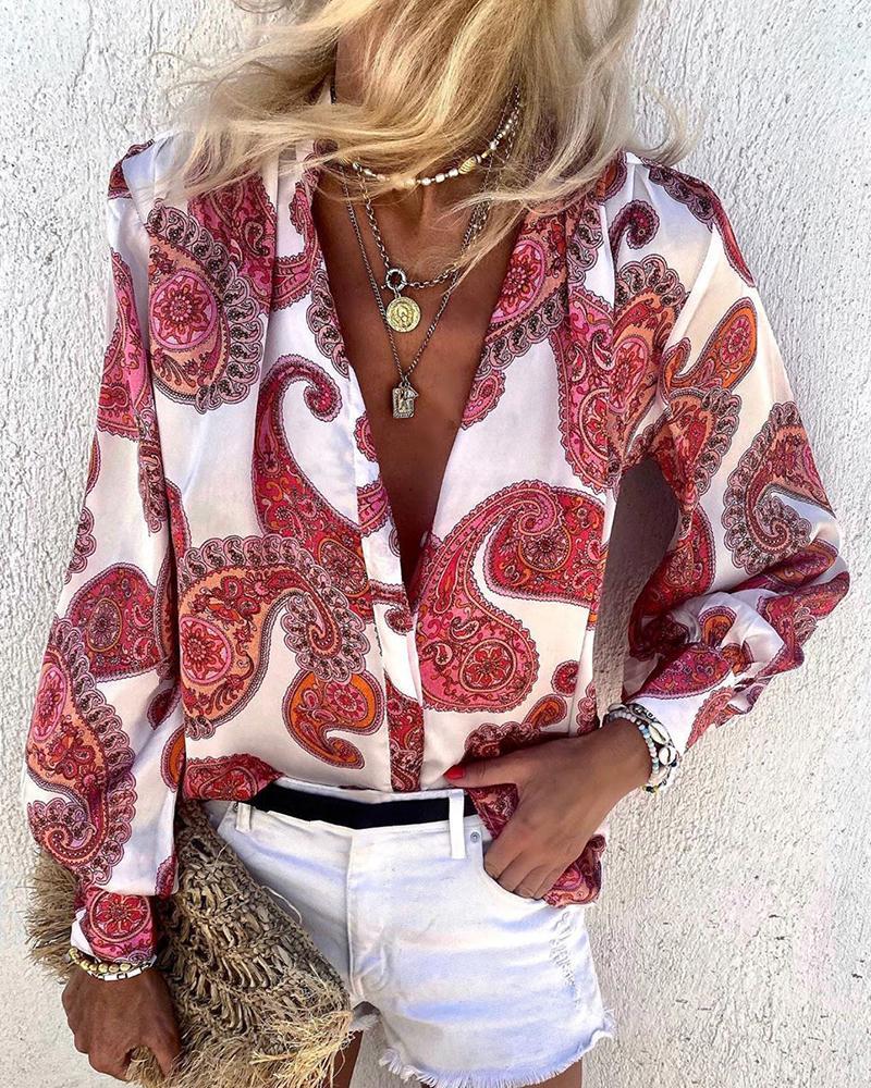 Paisley Print Long Sleeve Casual Shirt