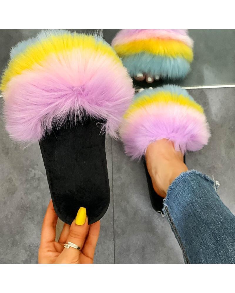 Multicolor Fur Upper Flat Sndals thumbnail