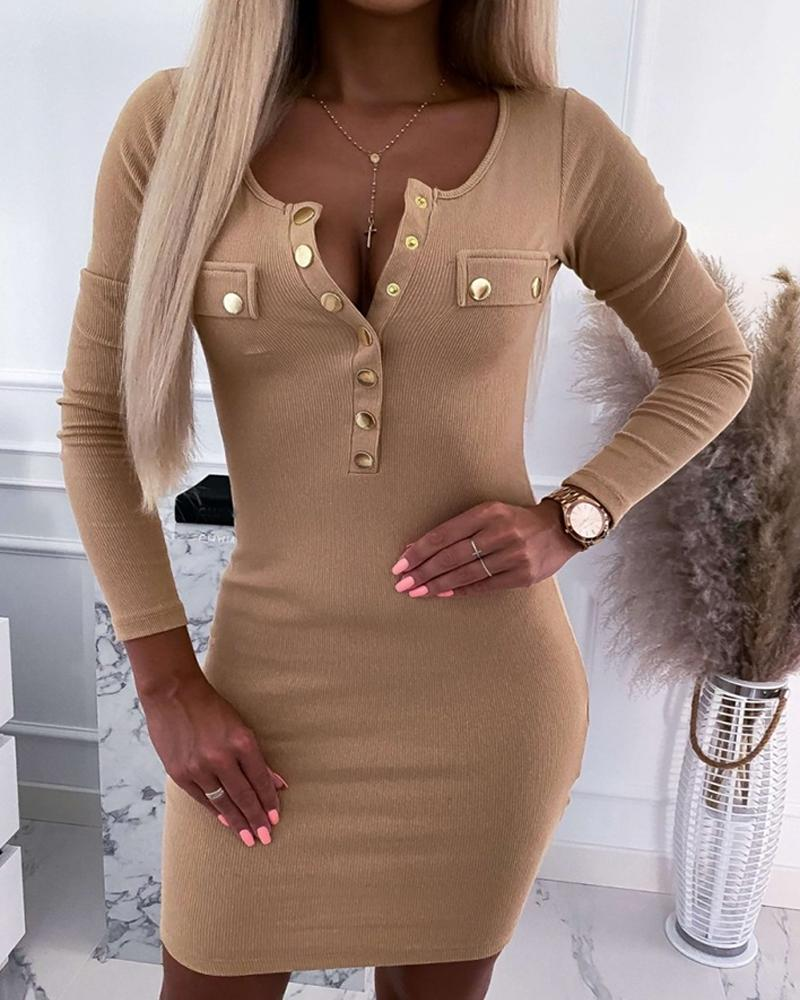 Solid Button-down Long Sleeve Skinny Dress thumbnail