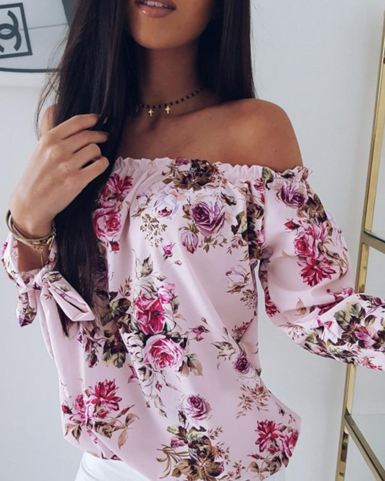 1757a34184 Off Shoulder Shirring Floral Print Loose Blouse