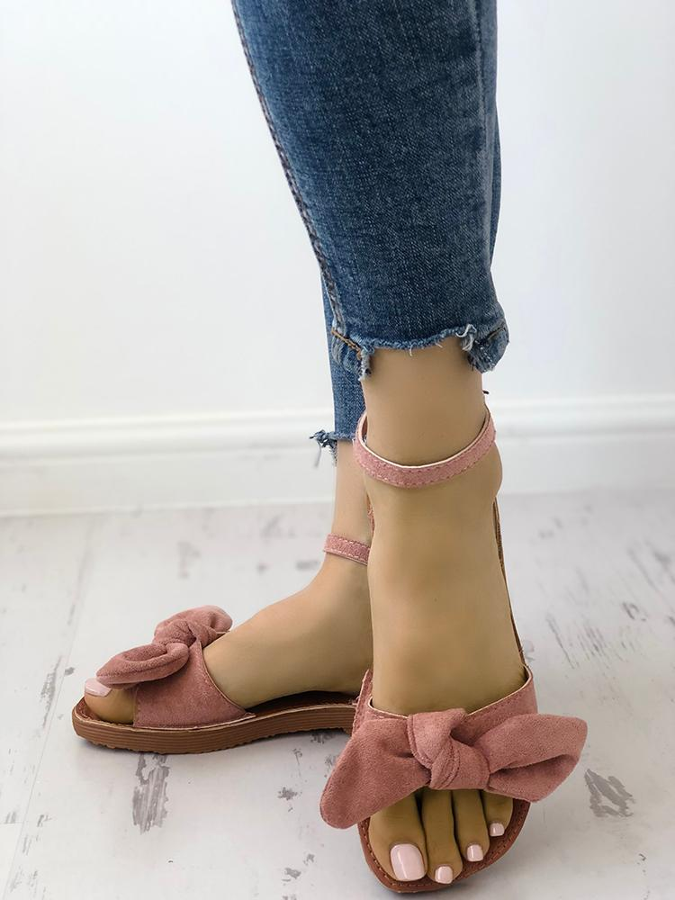 boutiquefeel / Solid Denim Bow Decorate Sandals
