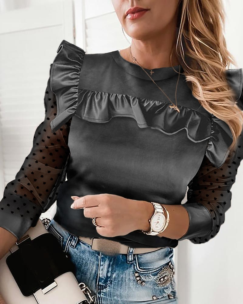 Dot Mesh Frill Hem Long Sleeve Top